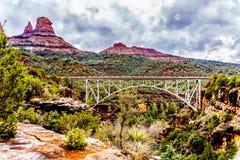 The steel structure of Midgely Bridge on Arizona SR89A between Sedona and Flagstaff over Wilson Canyon at Oak Creek Canyon stock photos
