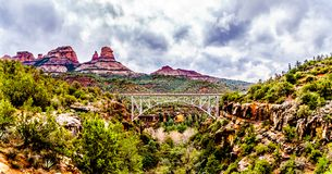 The steel structure of Midgely Bridge on Arizona SR89A between Sedona and Flagstaff over Wilson Canyon at Oak Creek Canyon royalty free stock image