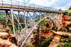 The steel structure of Midgely Bridge on Arizona SR89A between Sedona and Flagstaff over Wilson Canyon at Oak Creek Canyon royalty free stock photo