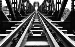 Steel structure of railway bridge, railway rail with vanishing point Stock Photography