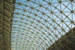 Steel structure roof ceiling made of metal and glass Stock Photo