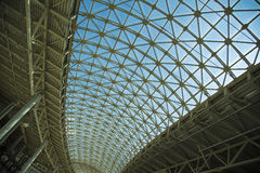 Steel structure roof ceiling made of metal and glass Stock Photography
