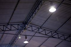 Steel structure of roof. Steel structure for large buildings or auditorium with light royalty free stock photography