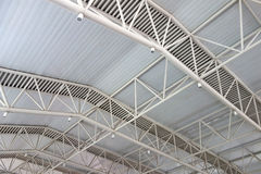 Steel structure  roof. At the train station Royalty Free Stock Photo