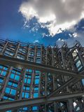 Steel structure with blue sky royalty free stock photo