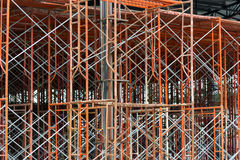 Steel structure. Steel scaffolding on a construction site Royalty Free Stock Images