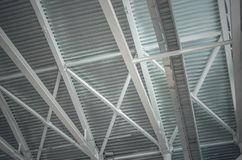 Steel structure skeleton with corrugated board proflinite of the ceiling. Steel structure skeleton with corrugated board proflinite of the ceiling of an royalty free stock image