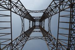 Steel structure of tower on blue sky background so tall and high Royalty Free Stock Photos