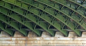 Steel structure under a bridge Royalty Free Stock Images