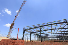 The steel structure. Steel structure, is under construction。Under the blue sky white clouds, very beautiful Royalty Free Stock Photos