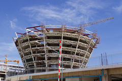 STEEL STRUCTURE. UNDER CONSTRUCTION AND BLUE SKY Stock Photo