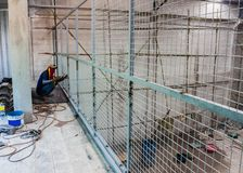 Steel structure wire mesh of construction. Steel structure wire mesh of construction at site work Stock Image