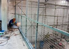 Steel structure wire mesh of construction. Steel structure wire mesh of construction site work Royalty Free Stock Images