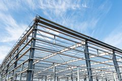 Steel structure workshop with blue sky Royalty Free Stock Photography