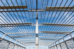 Steel structure workshop closeup Royalty Free Stock Photos