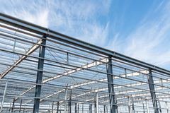Steel structure workshop in construction Royalty Free Stock Photo