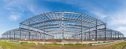 Steel structure workshop. Panoramic view, factory buildings in construction Royalty Free Stock Image