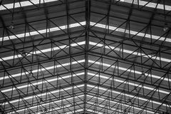 Steel structures metal construction roofs workshop in factory.  Royalty Free Stock Image