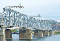 Steel structures railway bridge Stock Photo