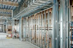 Free Steel Stud Construction With Plumbing In A Modern Office Building Royalty Free Stock Photography - 156518887