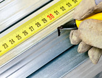 Steel stud measuring Royalty Free Stock Photo