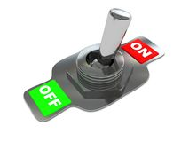 Steel switch. 3d illustration of steel switch over white background Royalty Free Stock Photos