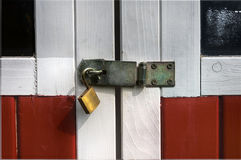 Steel swivel hasp with open padlock Stock Photography