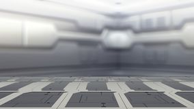 Steel table on a spaceship, sci-fi Background - can used for display or montage your products 3d render stock illustration