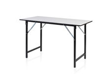 Steel table with white top stock images