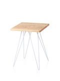 Steel table with wooden top Royalty Free Stock Image