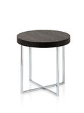 Steel table with wooden top Stock Photo