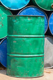 Steel tank or oil fuel toxic chemical barrels Stock Image