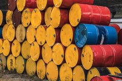 Steel tank or oil fuel toxic chemical barrels old rusty color to Royalty Free Stock Photography