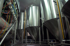 Steel tanks for beer manufacture Royalty Free Stock Photography