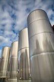 Steel tanks brewery stock image