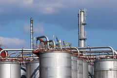 Steel tanks and pipe in oil refinery Stock Image