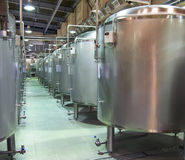 Steel tanks where the beer brewing Royalty Free Stock Photos