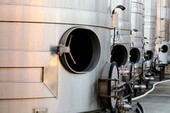 Steel tanks for wine making. Are waiting for the new harvest in Napa Valley, Sonoma County, California Royalty Free Stock Photo