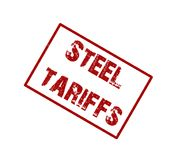 Steel tariff rubber stamp. Trade war Stock Photos