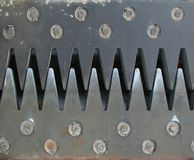 Steel teeth. Overlapping steel teeth of a bridge expansion joint Stock Photo