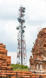 Steel telecommunication tower. With old pagoda Stock Photography