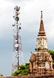 Steel telecommunication tower. With old pagoda Royalty Free Stock Photo