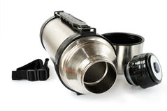 Steel thermos. With belt for travel isolated on white background Stock Photography