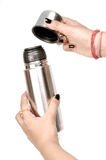 Steel thermos Stock Photography