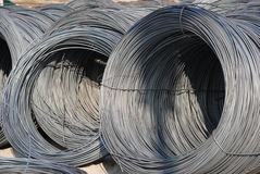 Steel thread rolls. The reinforcing steel bar rolls royalty free stock photo