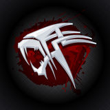 Steel tiger head against drop of blood art logo. Stock Image