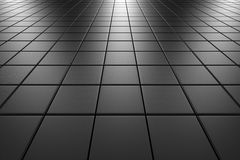 Steel tiles flooring perspective view. Steel square scratched tiles flooring perspective view shiny abstract industrial background Stock Photos