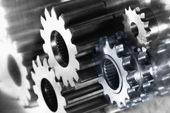 Steel and titanium gears Stock Photos