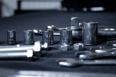 Steel tools kit with wrenches and spanners Stock Images