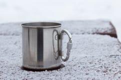 Steel tourist  mug Royalty Free Stock Photography